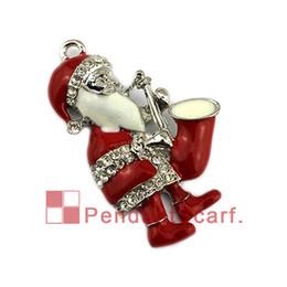 New Style Pendant Scarf Jewelry Rhinestone Enamel Saxophone Christmas Santa Claus Necklace Jewellery Scarf Pendant, Free Shipping, AC0422