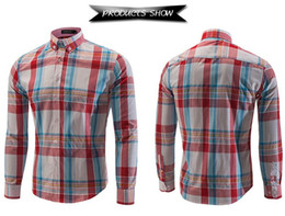 Wholesale-Hot sale men free shipping shirts 50% cotton Casual long-sleeved plaid shirt fashion men's striped shirt 6005
