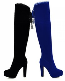 Wholesale Sexy Pretty Legs Above Knee Long Knight Boots Autumn Spring Ultra High Heeled Thick With Round Head Pure Side Zipper Women s Shoes