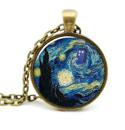 Dr Who Starry Night pendant,Vincent and the Doctor Dr Who jewelry, Tardis pendant,Whovian necklace