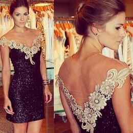 Sexy Black Sequined Mini Cocktail Dresses with V-Neck Lace Appliqued Short Prom Party Dresses Open Back Club Wear vestido de formatura
