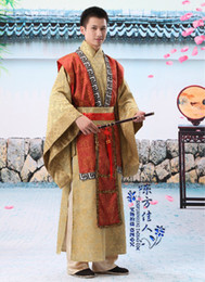 Wholesale The ancient china Han dynasty minister clothes costumes male elegant chinese folk dance wear