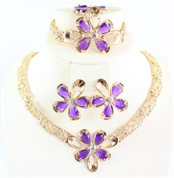 African Jewelry 18K Dubai Gold Plated Purple Ruby Flower Wedding Necklace Bracelet Earring Ring Bridal Jewelry Sets