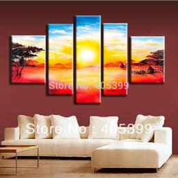 Wholesale Sun Painting Modern Art - Free Shipping !! The Sun Set !! 5PCS Huge Real Handmade Modern Abstract Landscape Oil Painting On Canvas Wall Art ,Z041