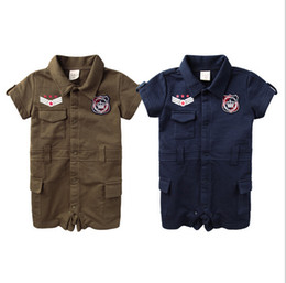 Wholesale HOT summer baby boy romper military uniform style turn down collar newborn romper With buttons toddler costume ab874