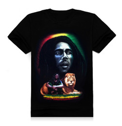 FG1509 new 2015 summer 3d men t shirt short sleeve man 3d reggae Rock Bob Marley & Lion Printing design cotton T shirt T83