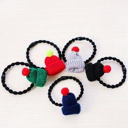 Wholesale hair elastics with mini crochet knitted beanie Hair tie elastic pony girl rubber Hair Bands childrens girls accessories for hair korea