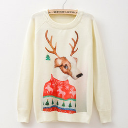 New 2015 autumn and winter round neck pullovers sweater for women Cartoon Christmas reindeer