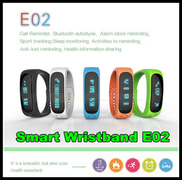 Wholesale E02 Sport bluetooth bracelet smart watch healthy Silicone Wristband Time Caller ID alarm Pedometer Sleep Monitor for IOS Android DHL