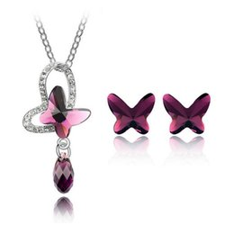 Butterfly Necklace Earrings Sets 18K Fashion Crystal Jewelry For Women Alloy Material Wedding Jewelry Set SET-00058