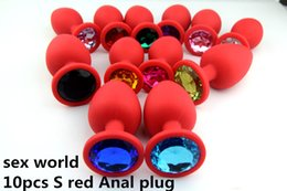 Wholesale 10PCS Silicone Anal Plug Toys Jewelry Butt Plug Insert Stopper Unisex Anal Sex Toys Adult Sex Products Red-S+Cloth Bag
