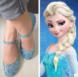 Retail Cheap Blue Shoes Frozen Anna Elsa Blue Crystal Hole Sandals Girls Shoes Cosplay Shoes