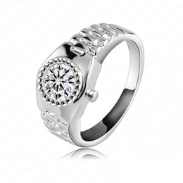 Wholesale-Attractive Watch Ring18K Rose Gold Platinum Plate Unisex Rings Genuine Austrian Crystal Engagement Ring RIC0018