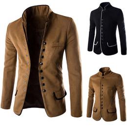 Wholesale Al por mayor de trajes chinos del nuevo diseño de túnica tradicional para los hombres mezclado algodón del collar del soporte de los hombres Blazer chaquetas de la capa trajes para hombre