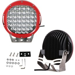 """EMS 2PCS 9"""" 185W CREE 37LED*5W Driving Work Light Round Offroad SUV ATV 4WD 4x4 Spot   Flood Beam 9-32V 18500lm JEEP Tractor Headlamp Red"""
