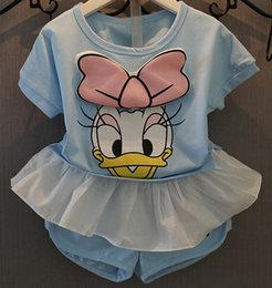 Wholesale Kid Girls Set Suit Cartoon Minnie Printed Flange Tops Solid Short Pants Fashion Soft Casual Grace N1545