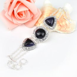 Wholesale Antique Special Gift Newest Crystal Night Stars Sun Sitar Gemstone Sterling Silver Plated Heart Bracelet Bangle Russia Bracelet Jewelry