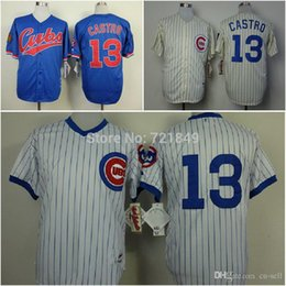Wholesale 2015 New quality assured Throwback Chicago Cubs Jersey Starlin Castro retro cream blue white older men s baseball shirts whole