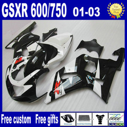 Black white bodywork kit FOR SUZUKI GSXR 600 750 fairings K1 2001 2002 2003 GSXR600 GSXR750 01 02 03 fairing kits