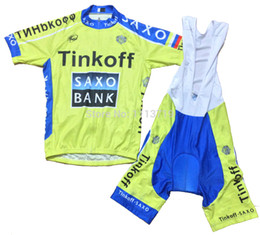 2015 TINKOFF SAXO BANK TEAM FLUO YELLOW S044 Short Sleeve Cycling Jersey Bike Bicycle Wear + BIB Shorts Size XS-4XL