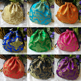 Free Ship 100pcs Handmade High quality 10*10cm Chinese Brocade Brocart Bag Jewelry Bags Candy Beads Bags Wedding Party Gift Bags