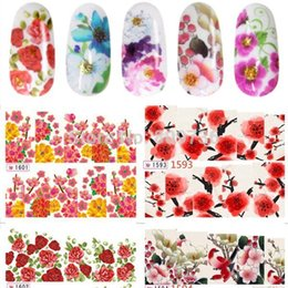 20 feuilles en gros Fleurs colorées Nail Art Eau Decal Stickers Fashion Nail Conseils de décoration Nouveaux meilleures femmes cadeaux arts sheet metal on sale à partir de feuille de métal arts fournisseurs