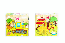 Wholesale Free delivery six surface painting larger particles animal traffic building blocks wooden toys six pictures