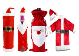 Best selling Red Santa Father Christmas Wine Bag style pocket plush Xmas candy wine gift Claus Bottle Bags Gifts decoration ornaments