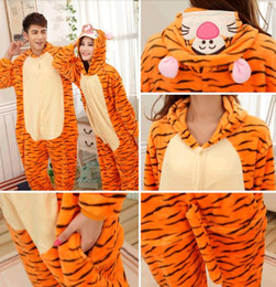 Wholesale 2014 Costume Winter Autumn Cheshire tiger Kigurumi Pajamas Animal Suits Cosplay Outfit Adult Garment Cartoon Jumpsuits Unisex Animal