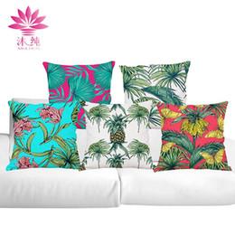 muchun Brand Home Decor Pillow Case Tropical Plants New Year Product 45*45cm Christmas Cotton Linen Home Textiles Sofa Throw Pillow Cover