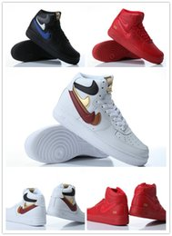 Wholesale Nike Air Force High quot Misplaced Checks quot red black white John Geiger x The Shoe Surgeon basketball shoes Men s Women s sneaker size