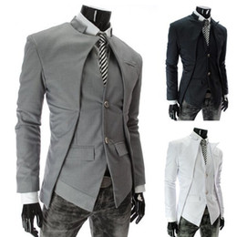 Wholesale Collar Stand Design - 2015 New Brand British Style Slim Men Suits Mens Stylish Design Blazer Casual Business Fashion Jacket Black Grey White free shipping