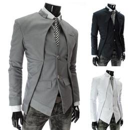 Wholesale 2015 Nouvelle marque de style britannique Slim Hommes Costumes Hommes élégant Design Blazer Casual Business Mode Jacket Noir Gris Blanc Livraison gratuite