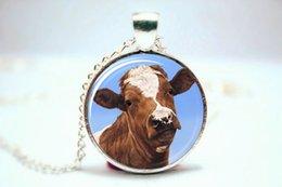 Wholesale 10pcs Brown Cow Necklace Glass Picture Pendant Photo Pendant Jewelry