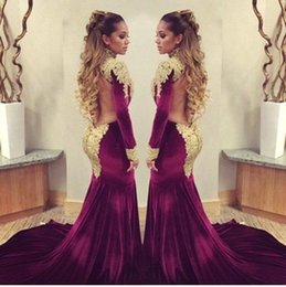 Custom Made Burgundy Velvet Mermaid Gorgeous Evening Dresses With Gold Lace Applique High Neck Long Sleeve Open Back Sexy Prom Gowns Cheap