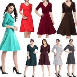 Women Vintage Rockabilly Swing Dress Elegant Ruched Retro 19 colors Casual Tunic Evening Party Sexy Office Dresses
