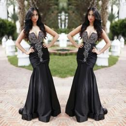 Black Mermaid Prom Dresses 2015 Evening Dresses Strapless Ruched Taffeta Sweep Train Beaded Party Evening Gowns Formal Dresses for Wedding