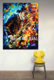 Wholesale Jazz Music Saxophone Soul Musician Palette Knife Oil Painting Picture Art Printed On Canvas For Home Office Hotel Wall Decor