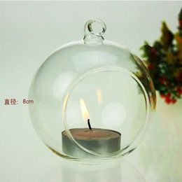 Wholesale Dia cm round glass hanging candles Glass Globe Tea Light Holders Wedding Candlestick Home Decor Holiday Candlestick