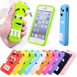 Wholesale 3D Cartoon M M Fragrance Chocolate Rainbow Bean Soft Silicone Case for iPhone C iPod Touch Samsung Galaxy S6 Edge Plus Note Note5