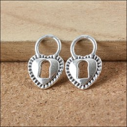 Antique Silver Coated Heart Lock Alloy Charms For Valentine's Day Gifts AAC1094