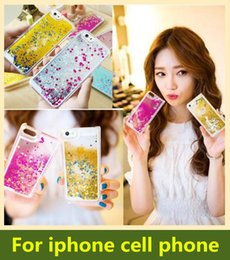 Floating glitter Heart Running Quicksand Liquid Dynamic Hard phone case clear shining Cover For iPhone 6s 5 5s 6 5c iphone 6 plus