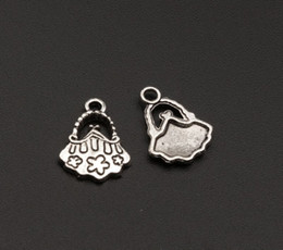Hot sell ! Cute Tibetan Silver Floral Handbag Purse Charm Pendant DIY Jewelry 14mmx18mm Free Shipping (353)