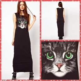 Wholesale Scoop Neck Column Green Eyes Big Cat Printed Casual Dresses For Women Long Ankle Length Ladies Clothing Cheap Spring Online Summer