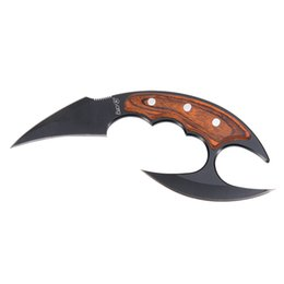 Karambit Fury7 Neck Knife Fixed Blade Claw Knife EDC 440 Blade Wood Handle Hunting Self-Defense Tactical Survival Gear Nylon Sheath