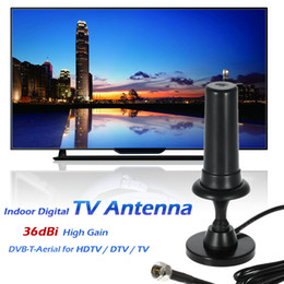 Wholesale W36 Indoor Digital TV Antenna dBi High Gain Full HD p VHF UHF DVB T Aerial F Male Connector for HDTV DTV TV V1901