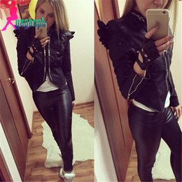 Wholesale-2015 New fashion woemn's black colro long sleeve PU leather wings zipper coat jacket outwear