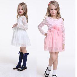 Wholesale 2015 Summer New Arrivals Girl Children Floral Lace long sleeve dress Princesses Part TuTu dress kids clothing C001