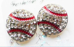 2016 Wholesale 50pcs usa Softball Earrings Stud Rhinestone Crystal Bling Yellow with Red Baseball Fastpitch Sports Earring