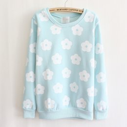 Women Sweatshirt 2015 Fashion Round Neck Printed Flowers Tops Long Sleeve Cotton Loose Cute Sweatshirt